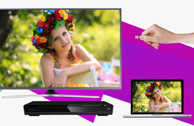 Smart Tivi Samsung UA50JS7200 50 inch - Chia sẻ nội dung với nhiều thiết bị giải trí như đầu DVD, dàn máy, laptop,…