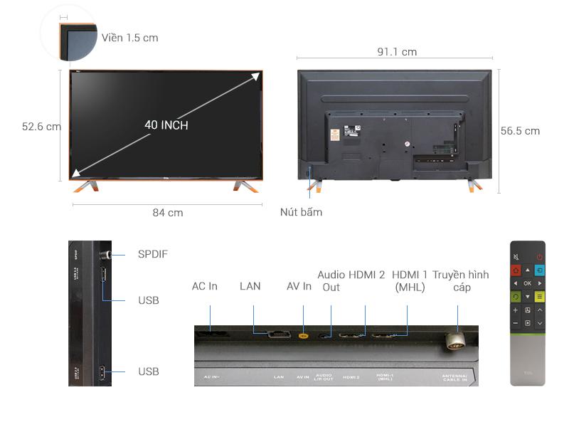 Thông số kỹ thuật Smart Tivi Zing TCL 40 inch L40Z1