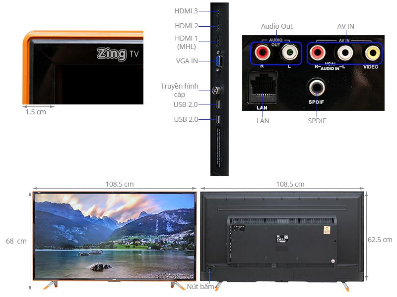 Thông số kỹ thuật Smart Tivi Zing TCL 48 inch L48Z1