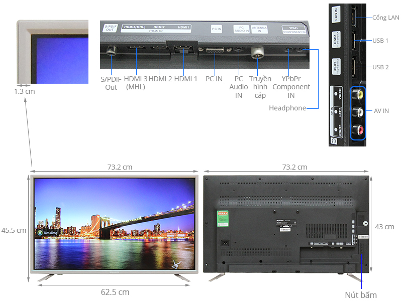 Thông số kỹ thuật Smart Tivi Skyworth 32 inch 32S810