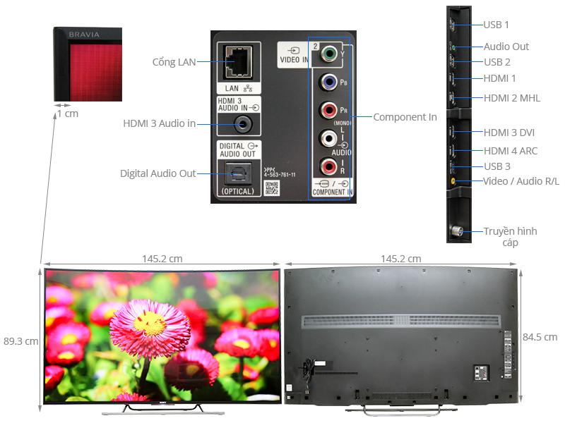 Thông số kỹ thuật Smart Tivi curved Sony KD-65S8500C 65 inch