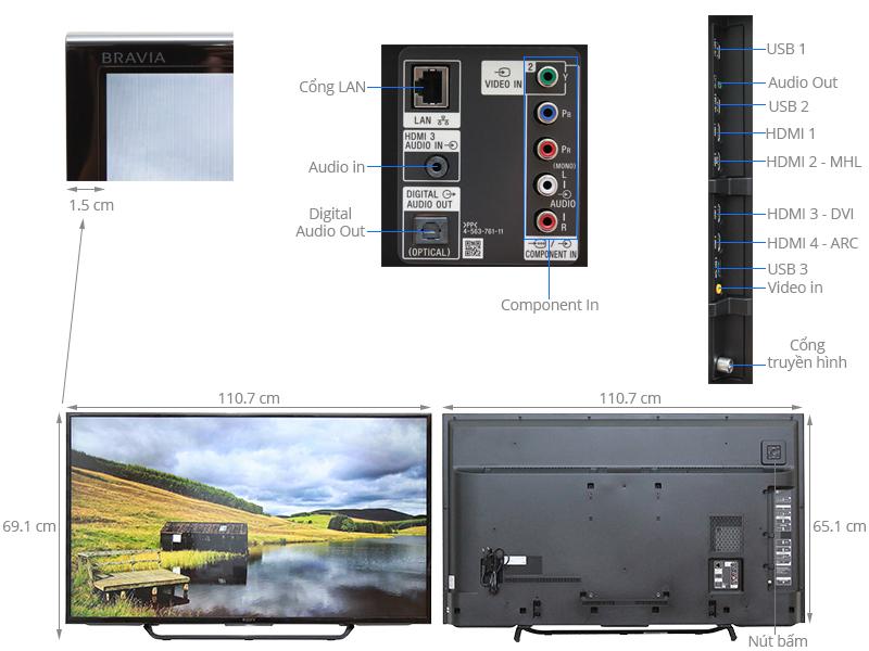 Thông số kỹ thuật Smart Tivi 49 inch Sony KD-49X8000C