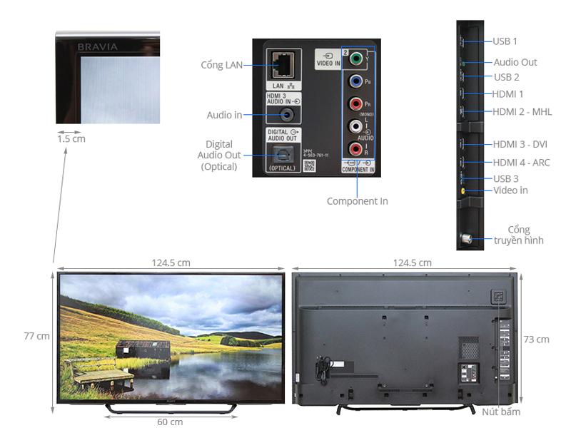 Thông số kỹ thuật Android Tivi Sony 55 inch KD-55X8000C
