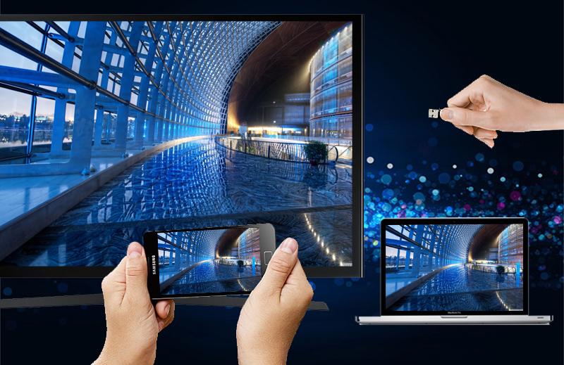 Internet Tivi LED Samsung UA50J5200 50 inch  - Kết nối linh hoạt với nhiều thiết bị giải trí khác như laptop, đầu DVD,…