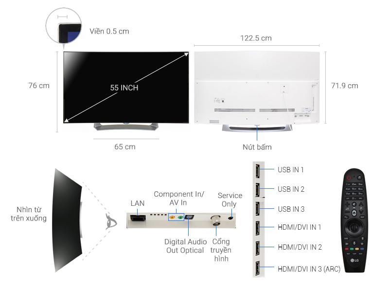 Thông số kỹ thuật Smart Tivi OLED Cong LG 55 inch 55EG910T