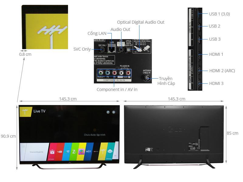 Thông số kỹ thuật Smart Tivi LG 65 inch 65UF860T