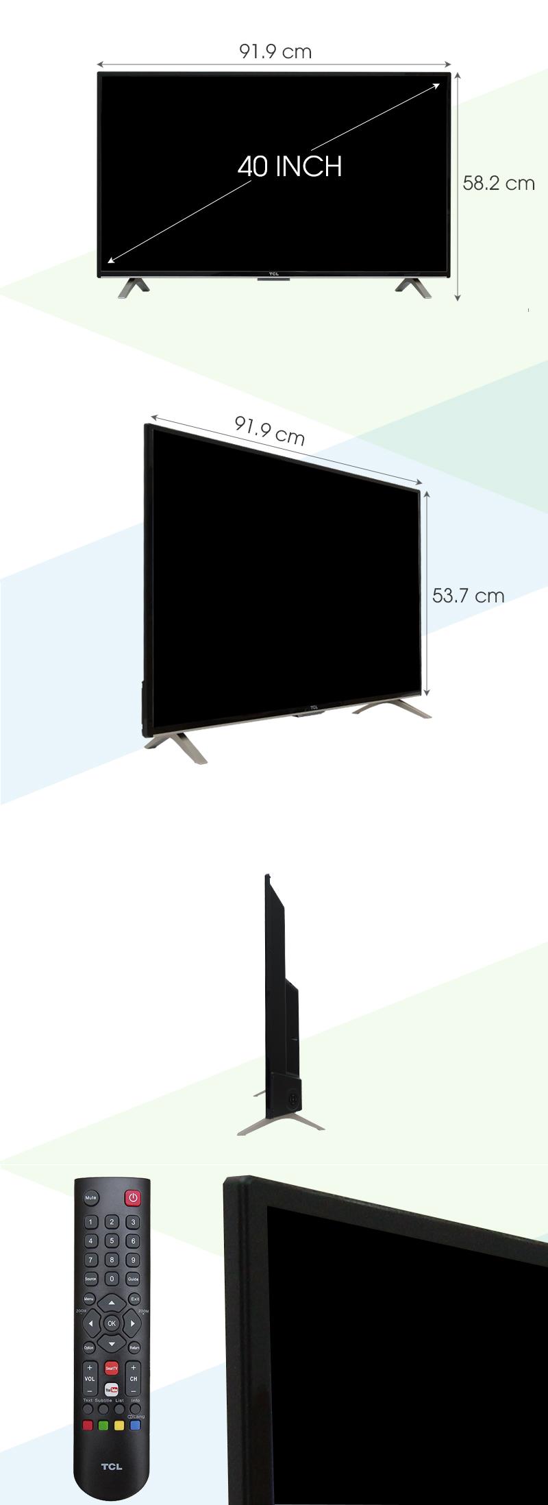 Internet Tivi TCL 40 inch L40D2790 - Kích thước tivi