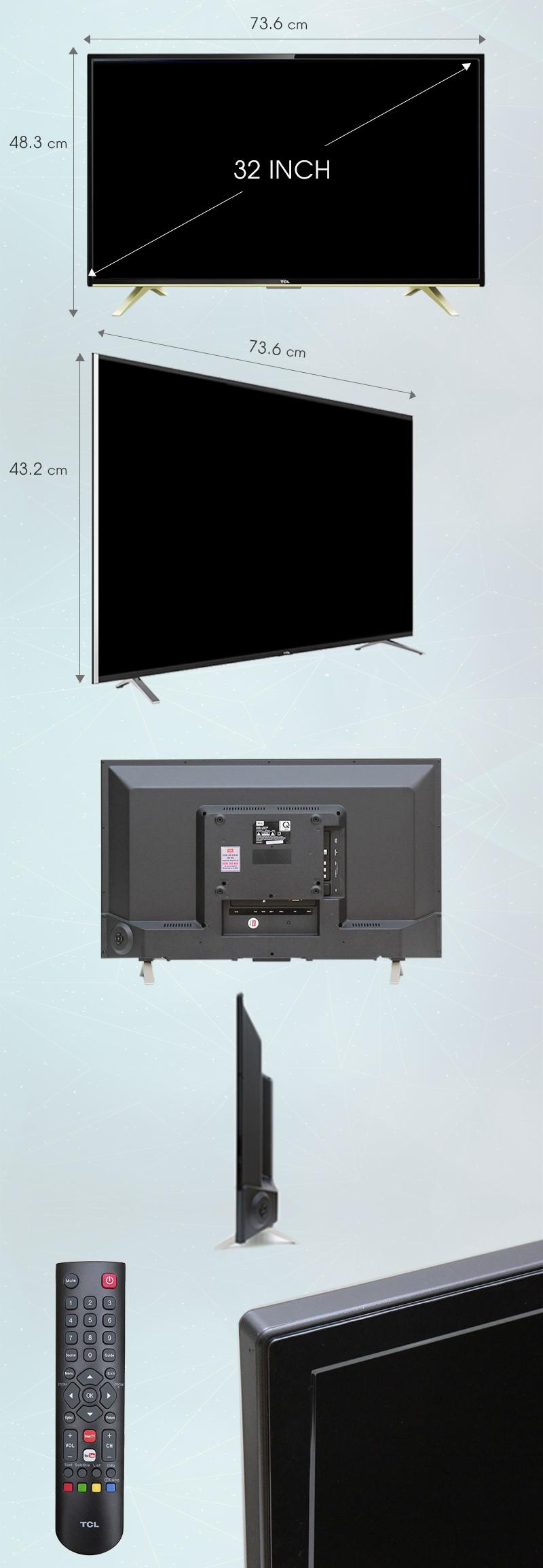 Internet Tivi TCL 32 inch L32D2790 - Kích thước tivi