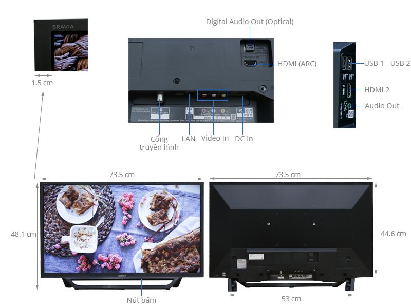 Thông số kỹ thuật Internet Tivi Sony 32 inch KDL-32W600D
