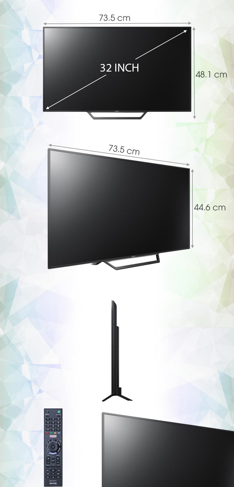 Internet Tivi Sony 32 inch KDL-32W600D - Kích thước tivi