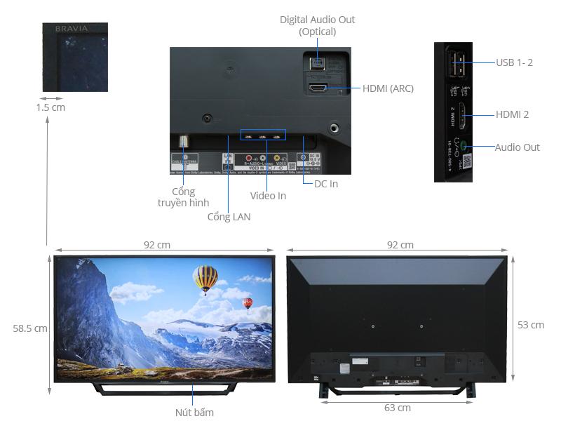 Thông số kỹ thuật Internet Tivi Sony 40 inch KDL-40W650D
