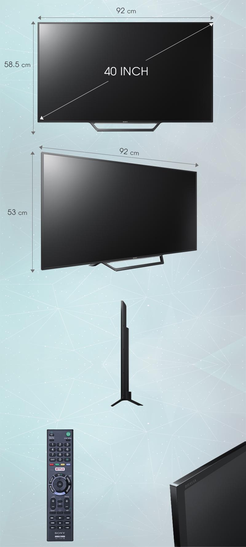 Internet Tivi Sony 40 inch KDL-40W650D - Kích thước tivi