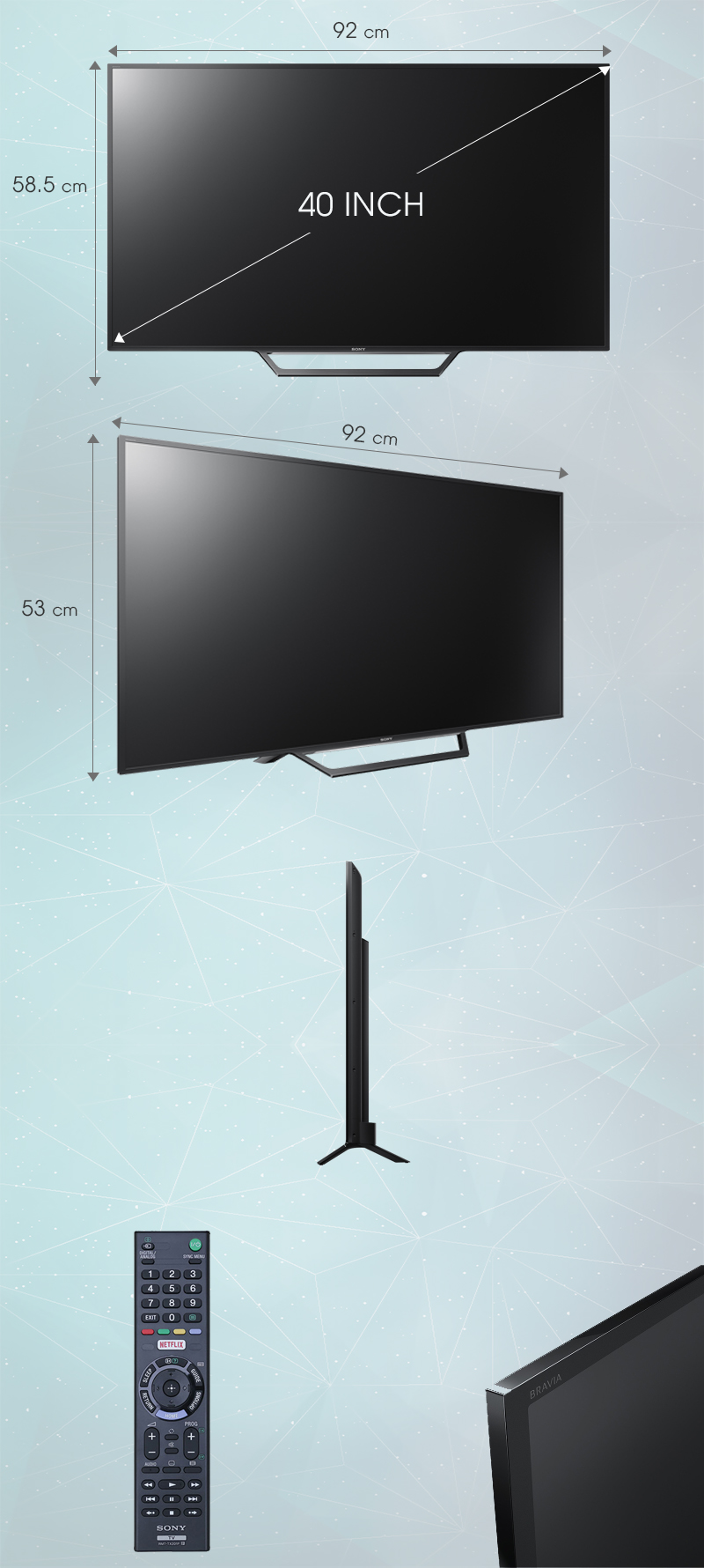 Smart Tivi Sony 40 inch KDL-40W650D - Kích thước tivi