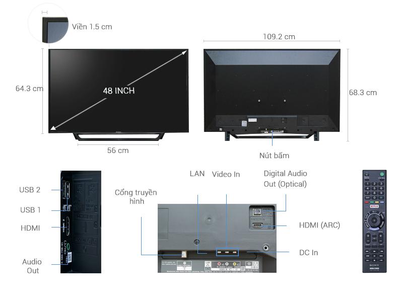 Thông số kỹ thuật Internet Tivi Sony 48 inch KDL-48W650D