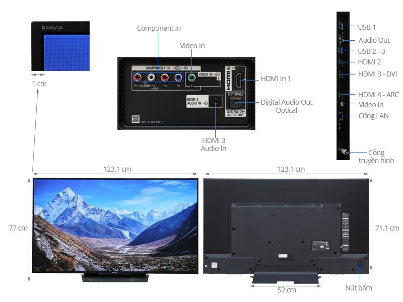 Thông số kỹ thuật Smart Tivi Sony 55 inch KD-55X8500D