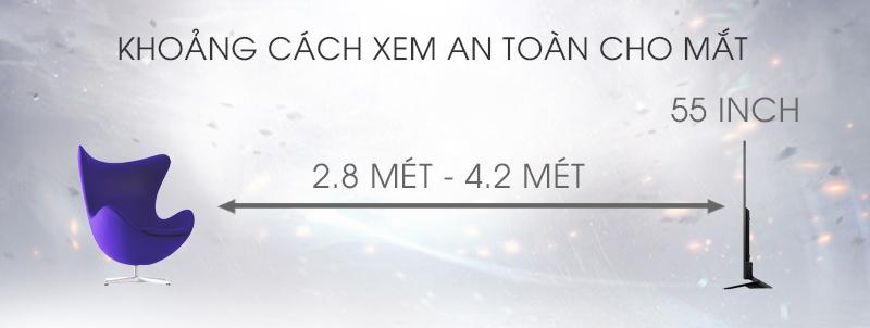 Android Tivi Sony 55 inch KD-55X8500D - Khoảng cách xem tivi