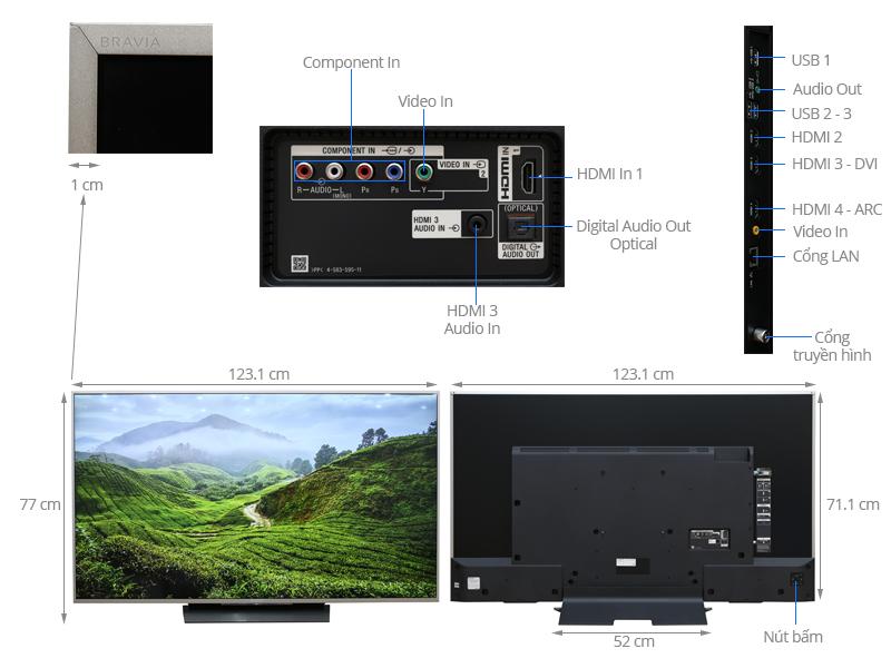 Thông số kỹ thuật Smart Tivi Sony 55 inch KD-55X8500D/S