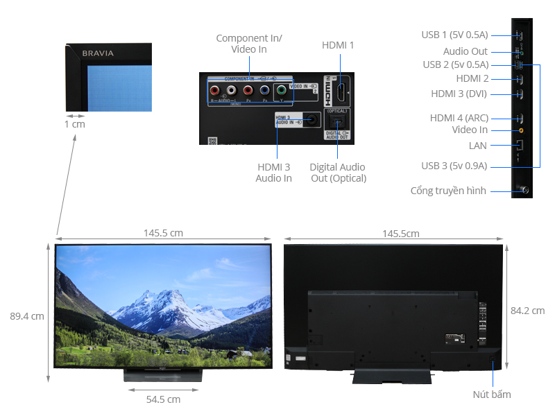 Thông số kỹ thuật Android Tivi Sony 65 inch KD-65X8500D