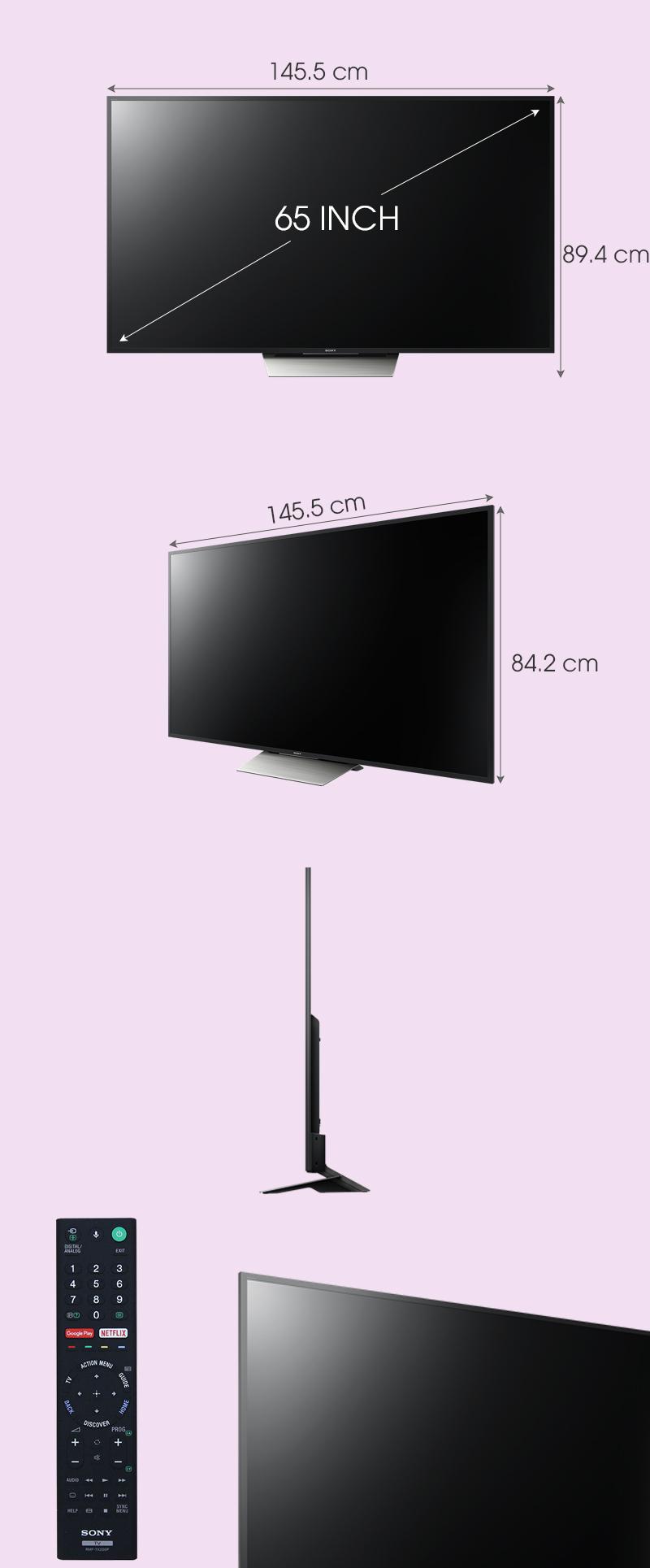 Android Tivi Sony 65 inch KD-65X8500D - Kích thước tivi