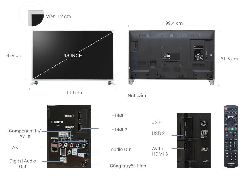 Thông số kỹ thuật Smart Tivi Panasonic 43 inch TH-43DS630V