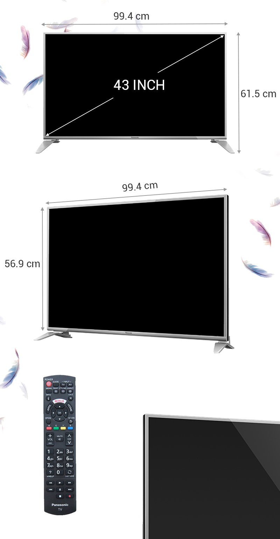 Smart tivi Panasonic 43 inch TH-43DS630V - Kích thước tivi