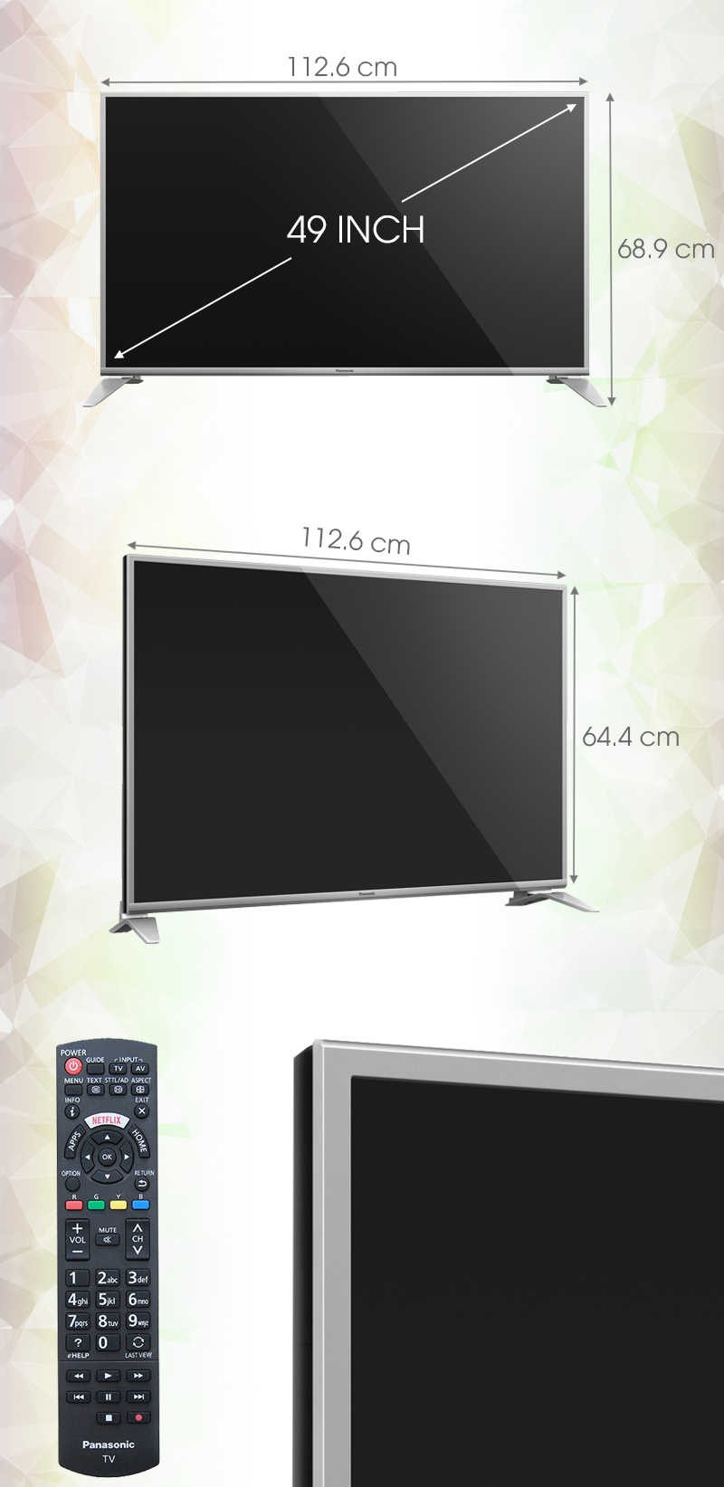 Smart Tivi Panasonic 49 inch TH-49DS630V - Kích thước tivi