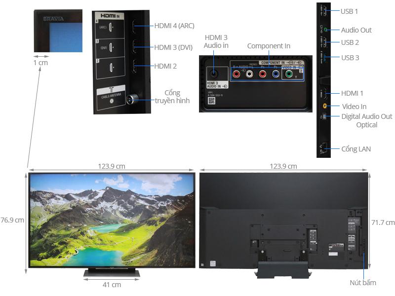 Thông số kỹ thuật Android Tivi Sony 55 inch KD-55X9300D