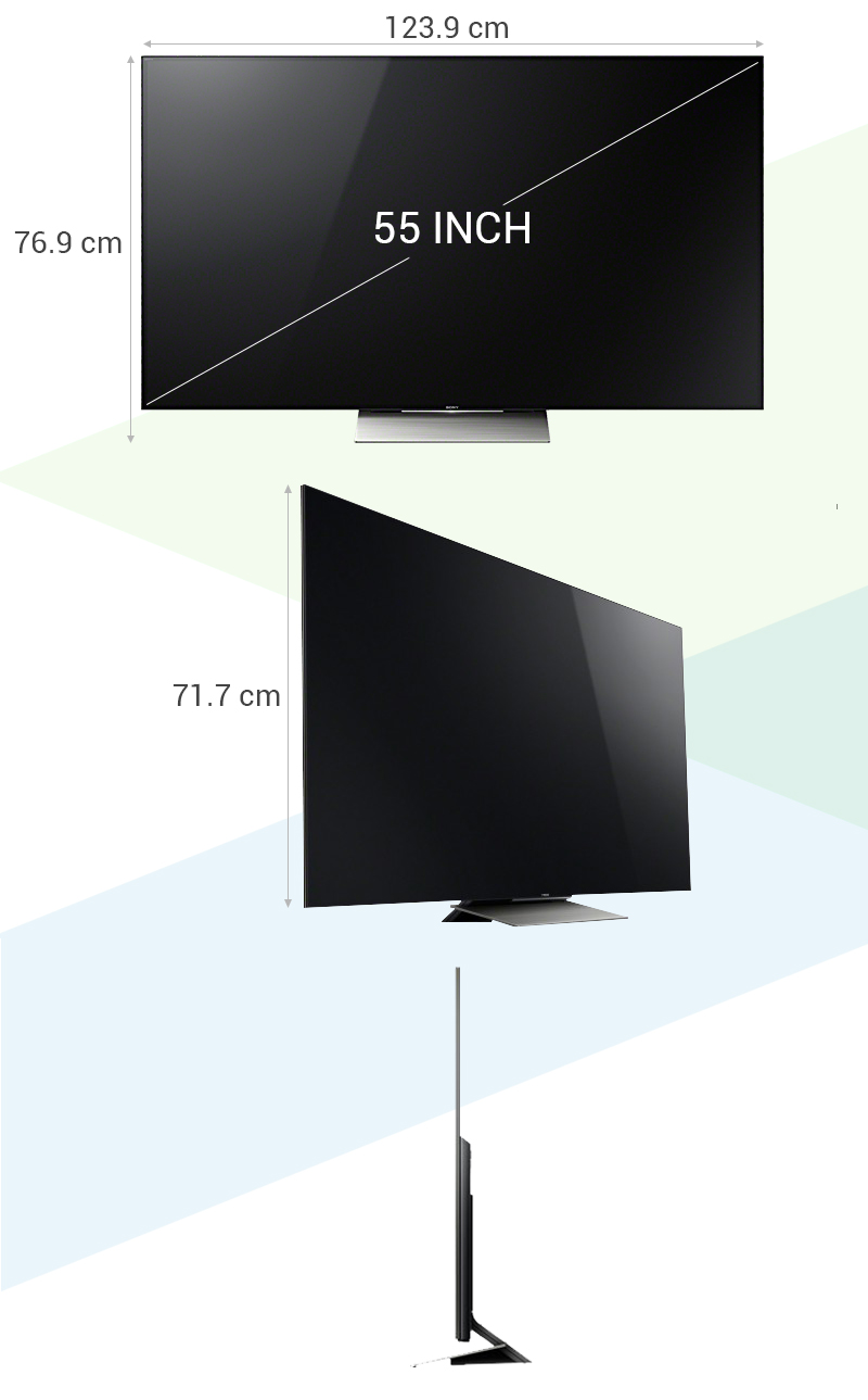 Smart Tivi Sony 55 inch KD-55X9300D - Kích thước tivi
