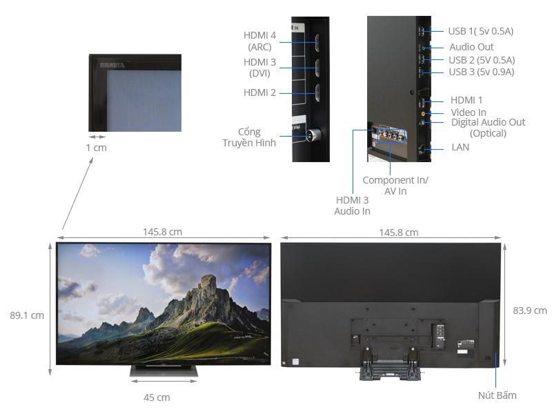 Thông số kỹ thuật Android Tivi Sony 65 inch KD-65X9300D