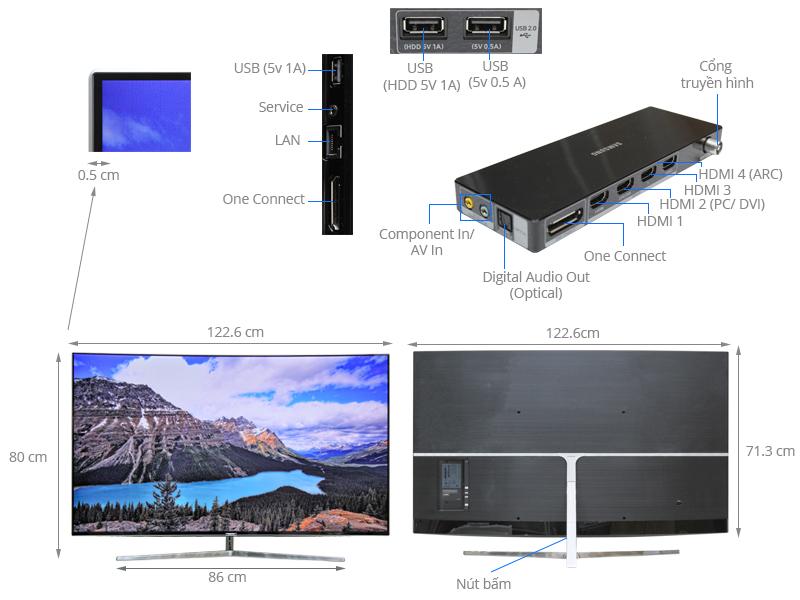 Thông số kỹ thuật Smart tivi Samsung 55 inch UA55KS9000