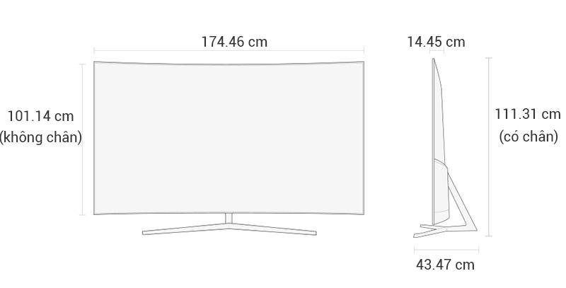 Smart tivi Cong Samsung 78 inch UA78KS9000 - Kích thước TV