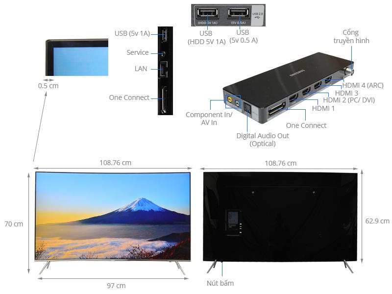 Thông số kỹ thuật Smart Tivi Cong Samsung 49 inch UA49KS7500
