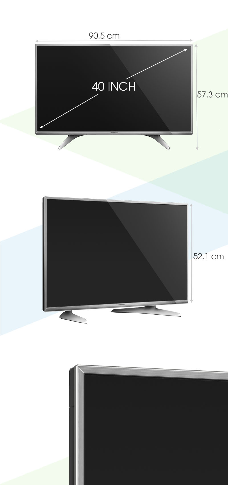 Smart tivi Panasonic 40 inch TH-40DX650V - Kích thước tivi
