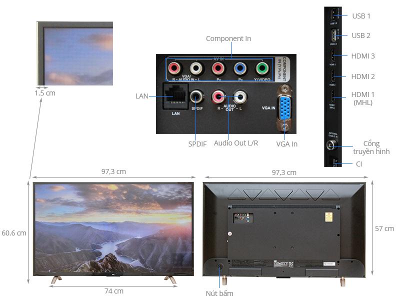 Thông số kỹ thuật Smart Tivi TCL 43 inchL43P1-SF
