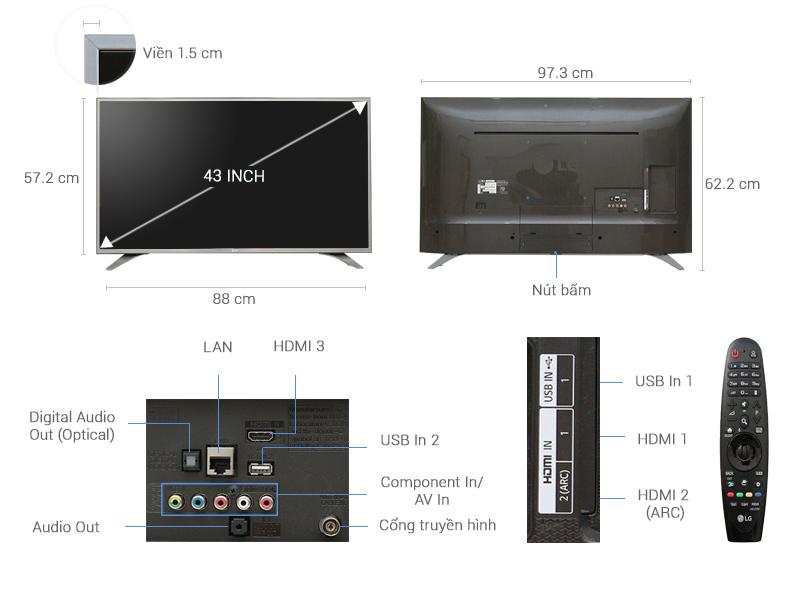 Thông số kỹ thuật Smart Tivi LG 43 inch 43UH650T