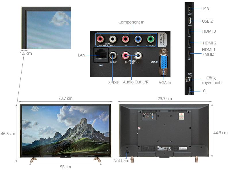Thông số kỹ thuật Smart Tivi TCL 32 inch L32P1-SF