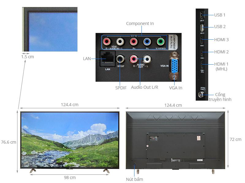 Thông số kỹ thuật Smart Tivi TCL 55 inch L55P1-SF