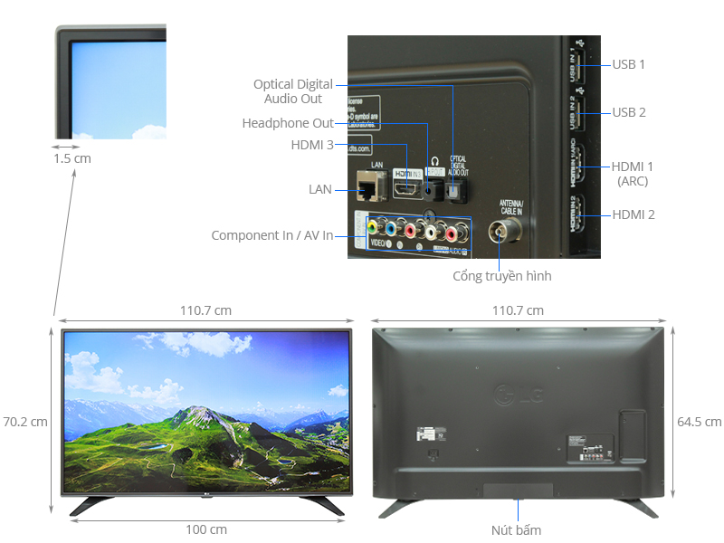 Thông số kỹ thuật Smart Tivi LG 49 inch 49LH600T