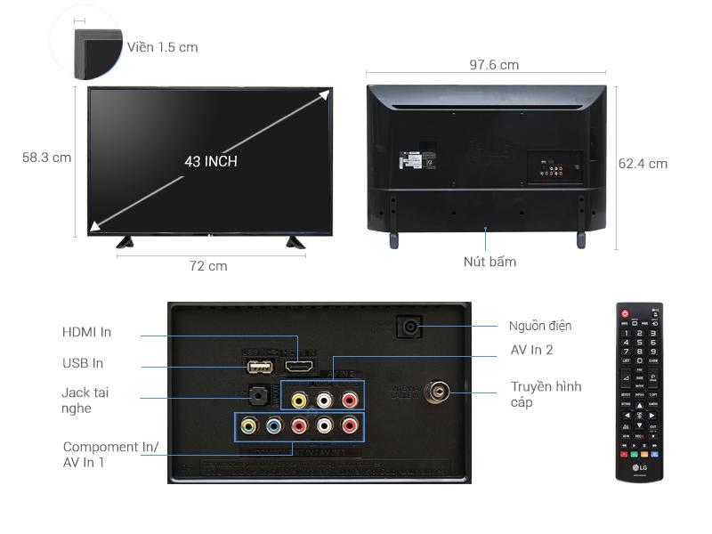 Thông số kỹ thuật Tivi LG 43 inch 43LH511T