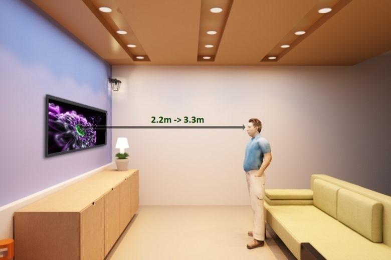Khoảng cách để xem tivi là 2.2 – 3.3 m