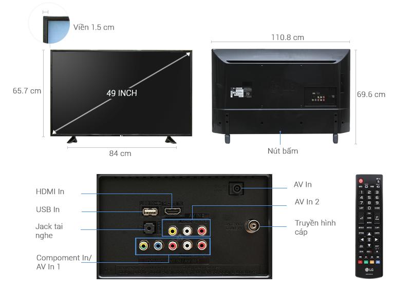 Thông số kỹ thuật Tivi LG 49 inch 49LH511T