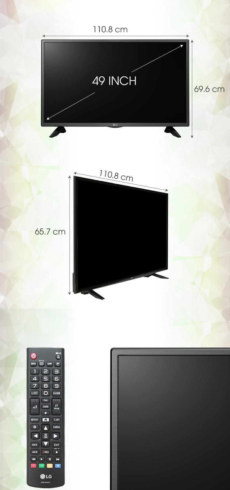 Tivi LG 49 inch 49LH511T - Kích thước tivi
