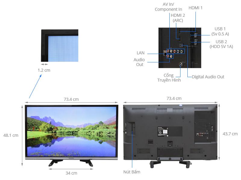 Thông số kỹ thuật Smart Tivi Panasonic 32 inch TH-32DS500V