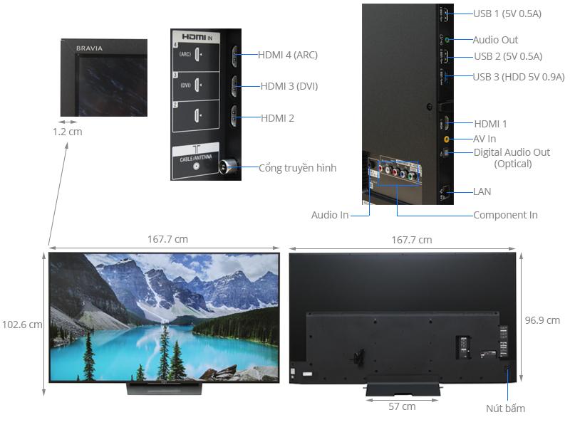Thông số kỹ thuật Android Tivi Sony 75 inch KD-75X8500D