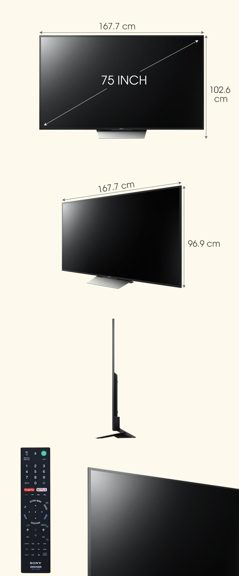 Android Tivi Sony 75 inch KD-75X8500D - Kích thước tivi