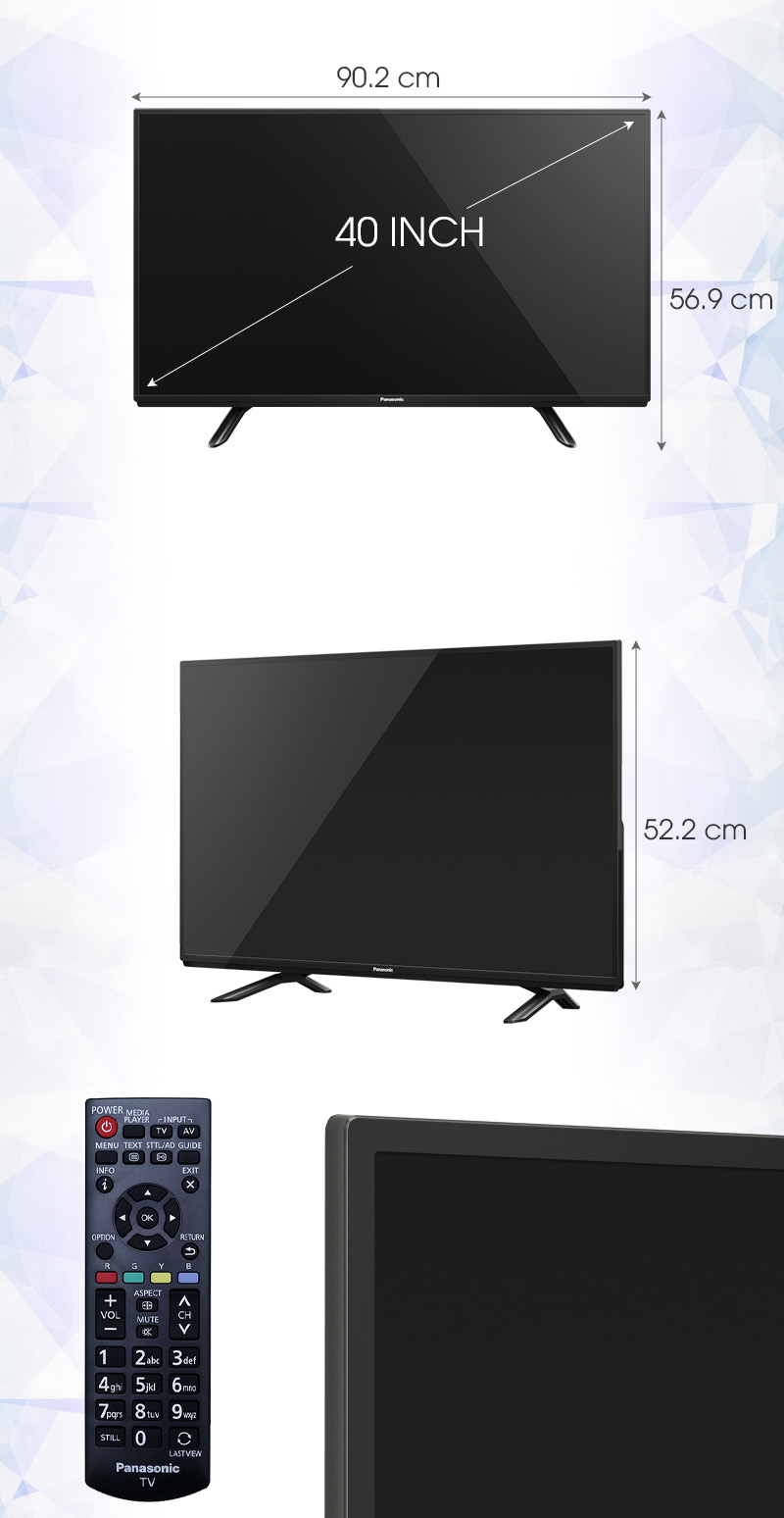 Tivi Panasonic 40 inch TH-40D400V - Kích thước TV