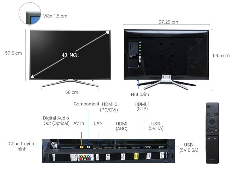 Thông số kỹ thuật Smart Tivi Samsung 43 inch UA43K5500
