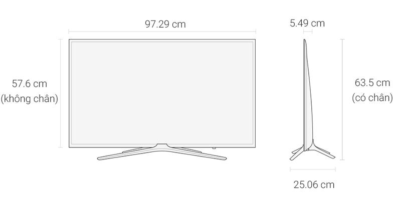 Smart Tivi Samsung 43 inch UA43K5500 - Kích thước tivi