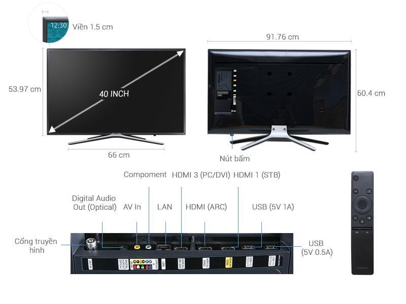 Thông số kỹ thuật Smart Tivi Samsung 40 inch UA40K5500