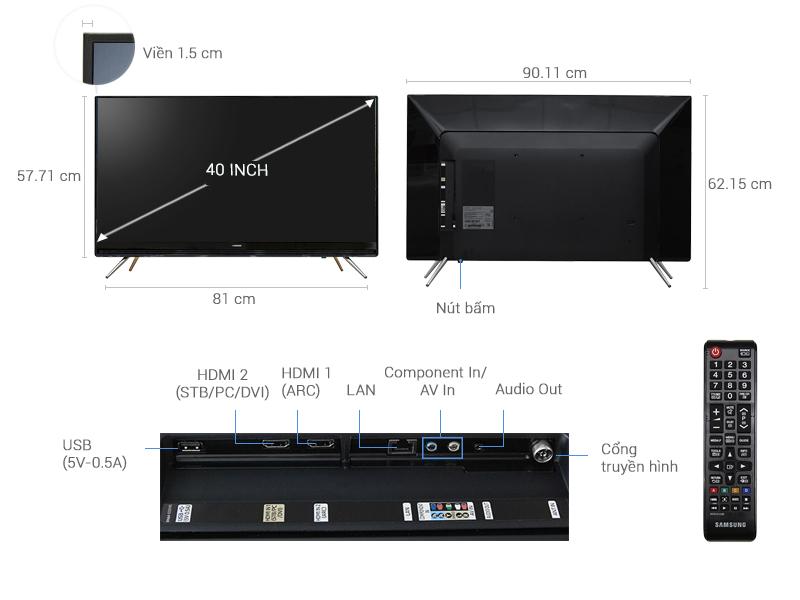 Thông số kỹ thuật Smart Tivi Samsung 40 inch UA40K5300
